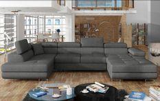 Canapé design panoramique U convertible gauche tissu gris foncé avec coffre de rangement Romano