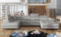 Canapé design panoramique U convertible gauche tissu gris souris avec coffre de rangement Romano