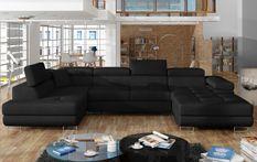 Canapé design panoramique U convertible gauche tissu noir avec coffre de rangement Romano