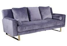 Canapé lit 3 places velours gris et pieds métal doré Lunna