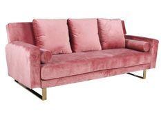 Canapé lit 3 places velours rose et pieds métal doré Lunna