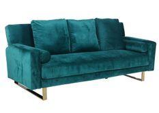 Canapé lit 3 places velours vert et pieds métal doré Lunna