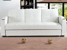 Canapé lit avec coffre simili cuir blanc 80x200 cm Barco
