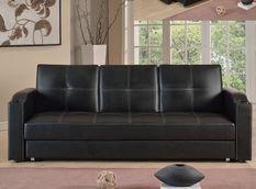 Canapé lit avec coffre simili cuir noir 80x200 cm Barco