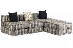 Canapé lit d'angle modulable tissu gris foncé Viska