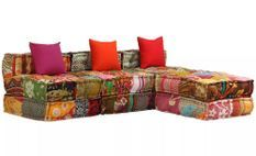 Canapé lit d'angle modulable tissu patchwork Viska