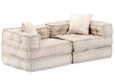 Canapé lit modulable tissu beige 2 places Miska