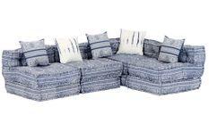 Canapé lit modulable tissu bleu 5 places Miska