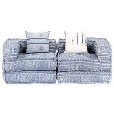 Canapé lit modulable tissu bleu clair 2 places Miska