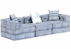 Canapé lit modulable tissu bleu clair 3 places Miska