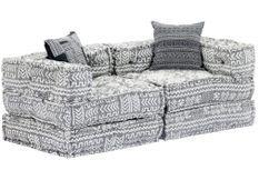 Canapé lit modulable tissu gris clair 2 places Miska
