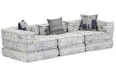 Canapé lit modulable tissu gris clair 3 places Miska