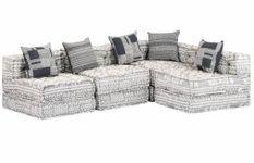 Canapé lit modulable tissu gris clair 5 places Miska