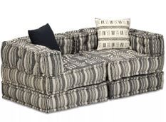 Canapé lit modulable tissu gris foncé 2 places Miska
