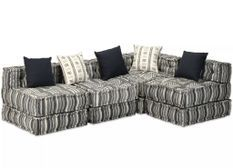 Canapé lit modulable tissu gris foncé 5 places Miska