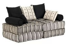 Canapé lit modulaire 2 places tissu à rayure Cold