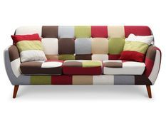 Canapé patchwork 3 places tissu multicolore Ambee