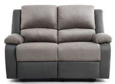 Canapé relaxation manuel 2 places microfibre et simili cuir gris Confort