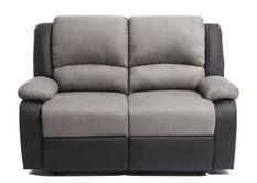 Canapé relaxation manuel 2 places microfibre gris et simili cuir noir Confort
