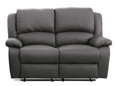 Canapé relaxation manuel 2 places simili cuir gris Confort