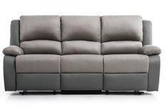 Canapé relaxation manuel 3 places microfibre et simili cuir gris Confort