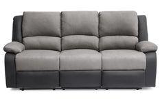 Canapé relaxation manuel 3 places microfibre gris et simili cuir noir Confort