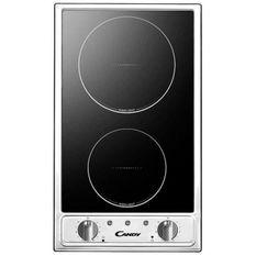 CANDY CTV200 - Table de cuisson Domino Vitrocéramique - 2 zones - 2900W - L29 x P51cm - Revetement verre - Noir