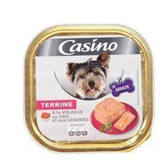 CASINO Barquette de terrine a la volaille, au foie et aux légumes - 300 g - Pour chien adulte