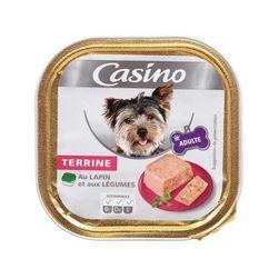 CASINO Barquette de terrine au lapin et légumes - Pour chien adulte - 300g