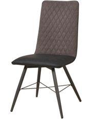 Chaise simili cuir et tissu noir pieds métal Simonne - Lot de 2