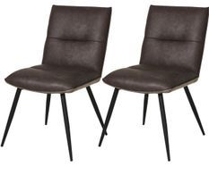 Chaise industrielle simili cuir marron et métal noir Karu - Lot de 2