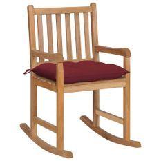 Chaise à bascule avec coussin rouge bordeaux Bois de teck