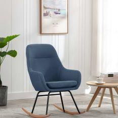 Chaise à bascule Bleu Tissu
