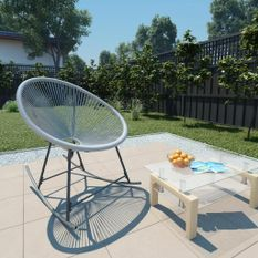 Chaise à bascule d'extérieur forme de lune Gris Résine tressée