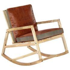 Chaise à bascule Marron Cuir véritable et manguier massif