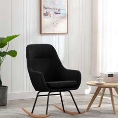 Chaise à bascule Noir Tissu