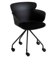 Chaise à roulettes polypropylène noir Ocel