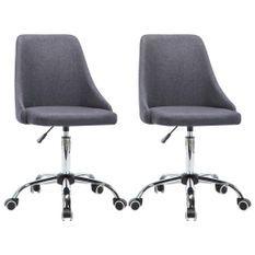 Chaise à roulettes réglable tissu gris foncé et pieds métal chromé Greys - Lot de 2
