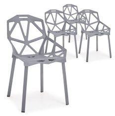 Chaise araignée grise Arany - Lot de 4