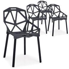 Chaise araignée noir Arany - Lot de 4