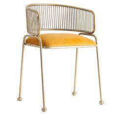 Chaise avec accoudoirs art déco métal doré et velours jaune et métal doré Zug - Lot de 2