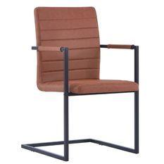 Chaise avec accoudoirs cuir marron et pieds métal noir Kandy - Lot de 2