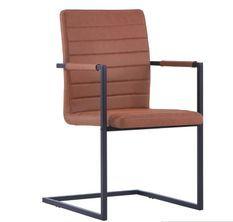 Chaise avec accoudoirs cuir marron et pieds métal noir Kandy - Lot de 4