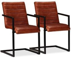 Chaise avec accoudoirs cuir marron et pieds métal noir Kandyas - Lot de 2