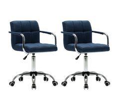 Chaise avec accoudoirs pivotante tissu bleu et métal chromé Soraya - Lot de 2