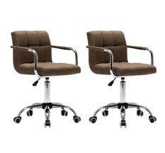 Chaise avec accoudoirs pivotante tissu marron et métal chromé Soraya - Lot de 2