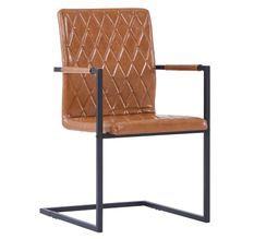 Chaise avec accoudoirs simili cuir marron cognac et pieds métal noir Canti - Lot de 24