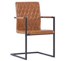 Chaise avec accoudoirs simili cuir marron cognac et pieds métal noir Canti - Lot de 4