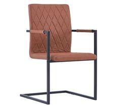 Chaise avec accoudoirs simili cuir marron et pieds métal noir Canti - Lot de 2