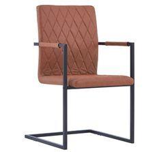 Chaise avec accoudoirs simili cuir marron et pieds métal noir Canti - Lot de 4